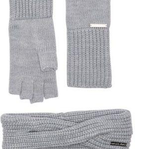 Michael Kors gray glove & headband set